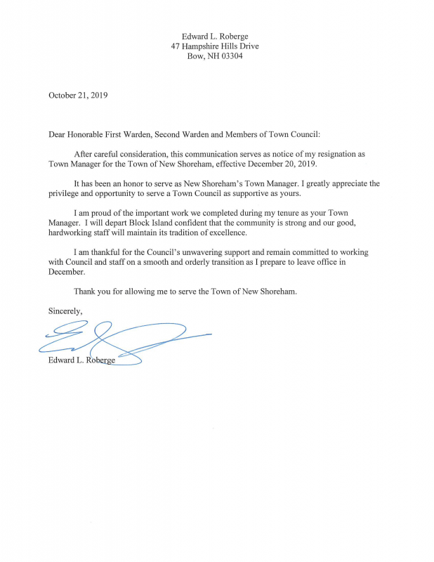 Roberge letter of resignation | Block Island Times